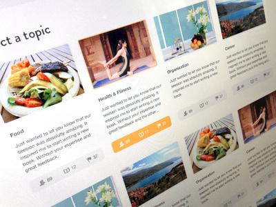 Topics listings topics navigation web design interface filter focus lab design ui design