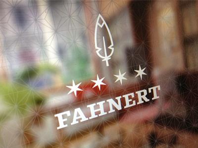 Arrangement feather logo stars fahnert branding logo design typeface pattern focus lab design
