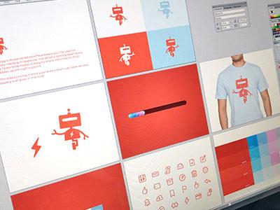 Branding With Bots design branding tech robots logo logo design focus lab oh snap software robot style guide color palette