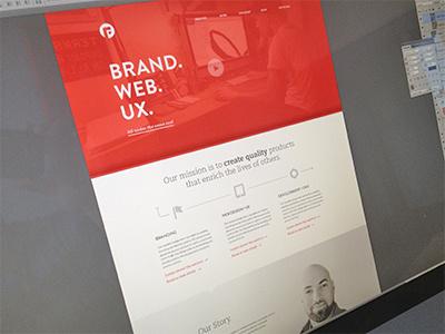 in the works design branding focus lab new clean red header homepage