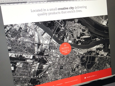 Contact Footer design branding focus lab new clean red footer contact circle map huge