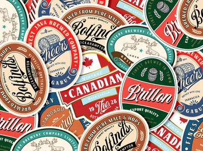 Vintage Beer Labels typedesign lettering logo illustration font design design typeface typography font display vintage logo label