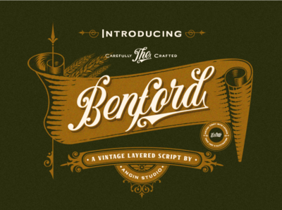 Benford Vintage Layered Script packaging beer labels badge typedesign script lettering custom vintage classic font design typeface typography display font design