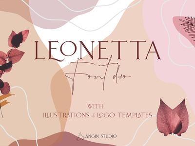 Leonetta Font Duo illustration script custom logo lettering typeface display typography design font design font
