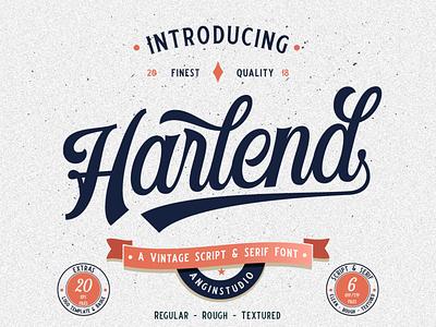 Harlend Script Font (Free Demo Version) typeface logo typedesign badge custom typography vintage display design classic hand lettering lettering script font font design font bundle script font