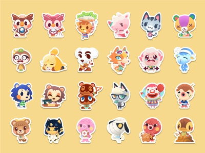 Animal Crossing Stickers new horizons art cute art design cute sticker stickers animal crossing illustration vector