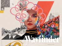 Wayfinder illustration design typography poster portrait art collage