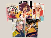 Collage Portraits Postcard Set postcard print design poster portrait art collage illustration vector