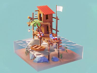 Seashack space building blender3dart blender3d blender 3d art 3d illustration
