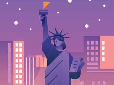 Liberty nyc new york statue of liberty illustration vector