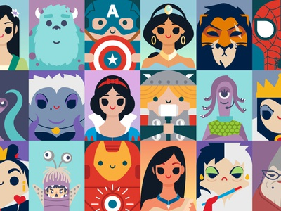 Portraits villain superheroes princesses avengers marvel disney illustration vector