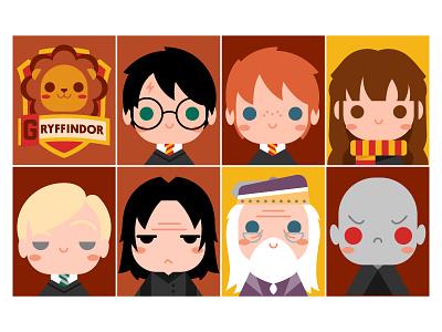 Gryffindor ron hermione malfoy dumbledor voldemort snape gryffindor harry potter illustration vector