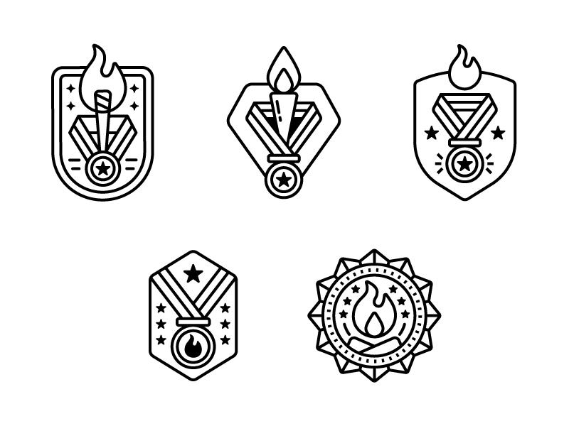 StoryFire Concept badges fire story storyfire campfire badges illustration vector