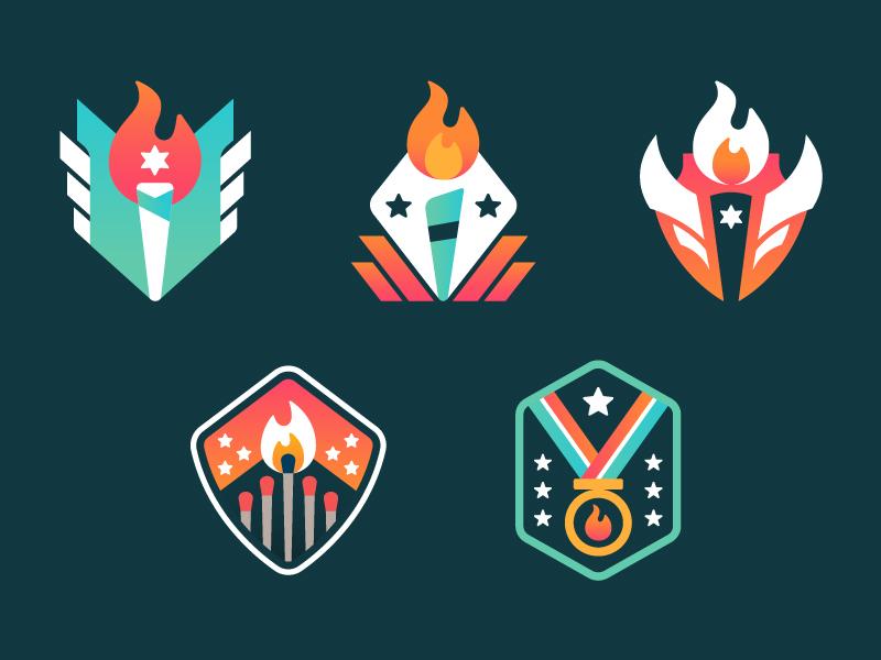 StoryFire Camp Badges fire story storyfire campfire badges illustration vector