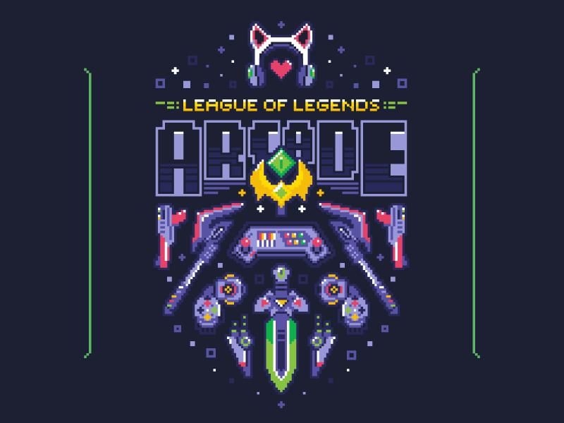 Arcade Hoodie hoodie apparel gaming arcade league of legends pixel illustration vector