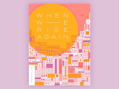 When We Rise Again sun poster relief aid beacon lines city illustration vector