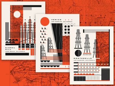 Oil Fields of S. California 1940s lines graphic design history california los angeles montebello oil fields oil illustration vector