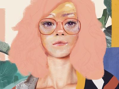 Juliet collage painting color poster cover face portrait art illustration vector