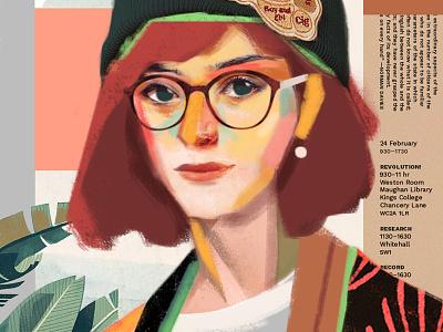 Fiona woman girl color face poster collage portrait art artwork fashion illustration vector