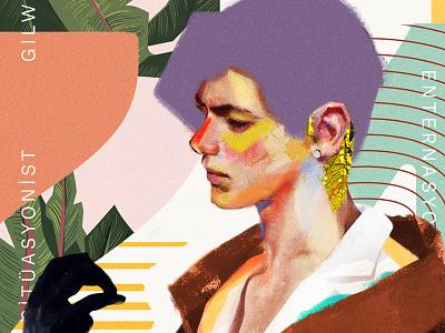 Julian boy color face poster mixed media collage portrait art artwork fashion illustration vector