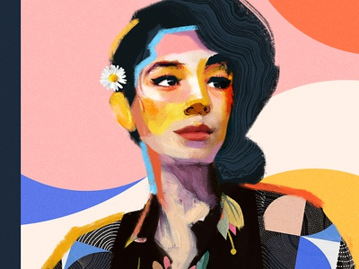Marie collage painting color poster cover face portrait art illustration vector
