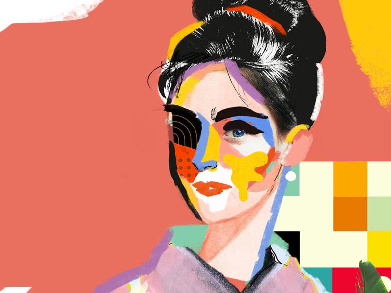 Audrey woman girl color face mixed media collage portrait art artwork fashion illustration vector
