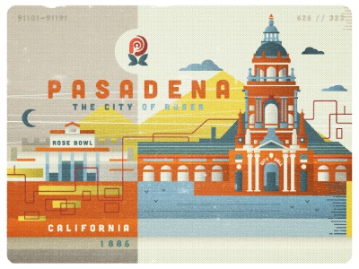 Pasadena vector illustration pasadena city roses california been everywhere