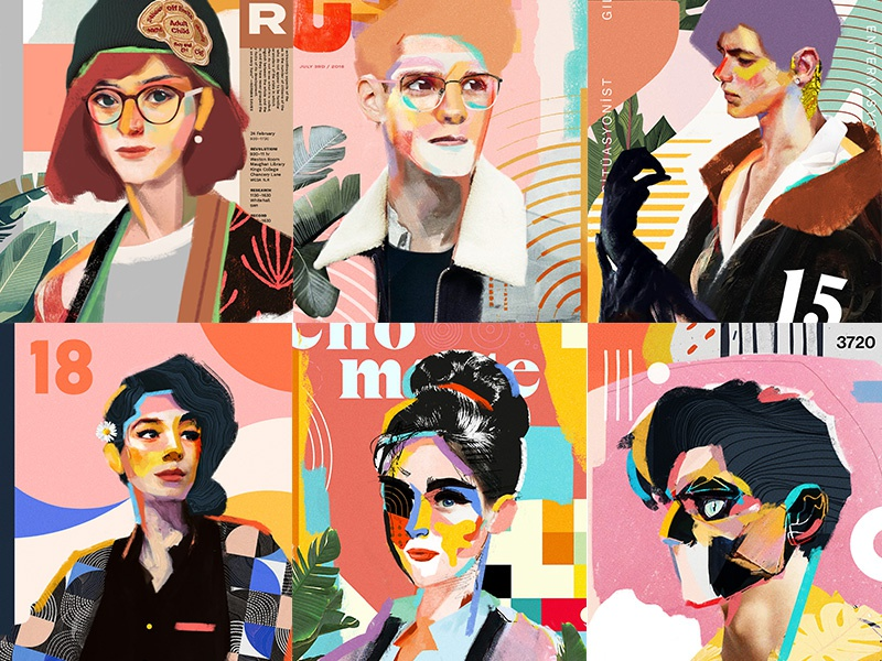 Portfolio Update collage painting color poster cover face portrait art illustration vector