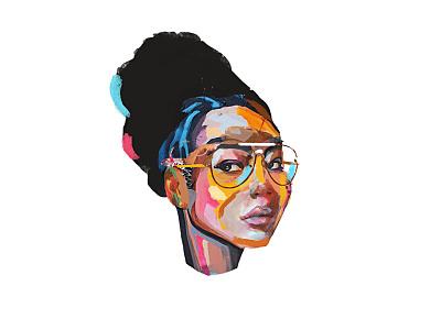 Simone color painting collage face portrait illustration art
