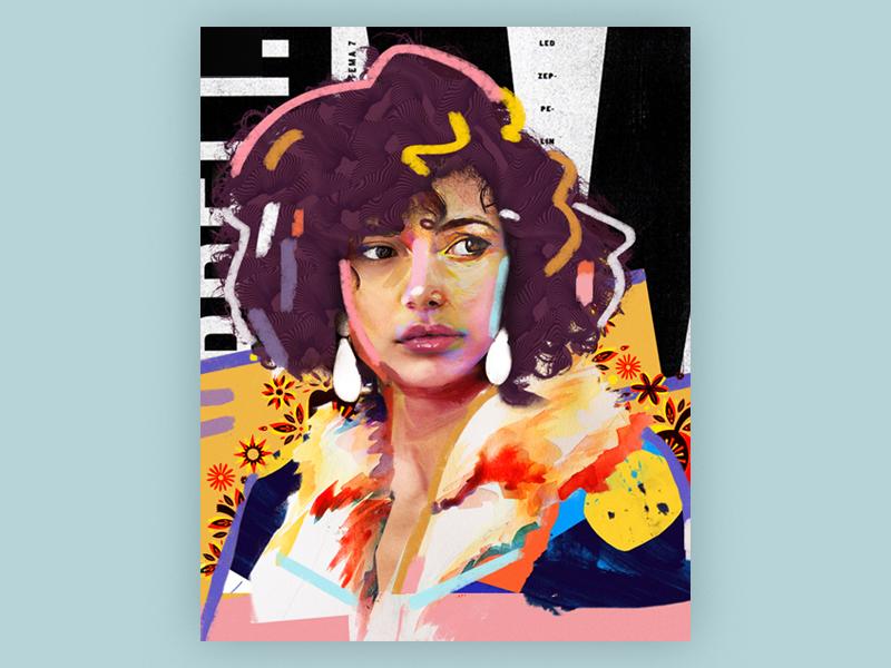 Beverly poster design portrait art collage illustration vector