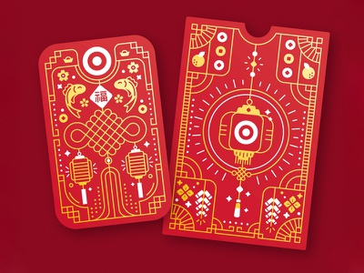 Target Lunar New Year Giftcard packaging giftcard red target line icon design art branding illustration vector