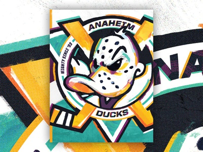 Anaheim Ducks 25th Anniversary Poster hockey anaheim ducks design poster portrait art branding illustration vector