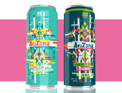Arizona Can Final vector illustration arizona tea cans logo branding packaging