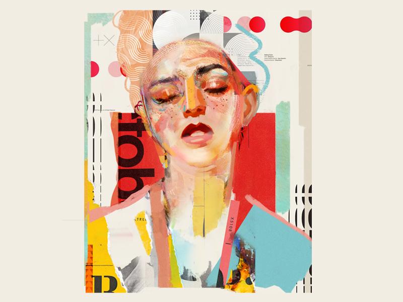 Barbara design poster portrait art collage illustration vector