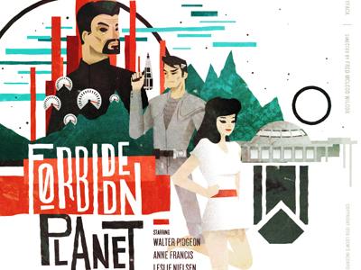 Forbidden Planet vector illustration forbidden planet movie film poster