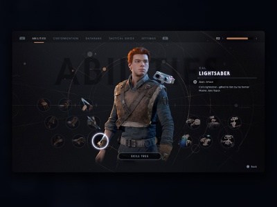 Star Wars: Jedi Fallen Order icon jedi star wars menu game design video game game art game design ux ui