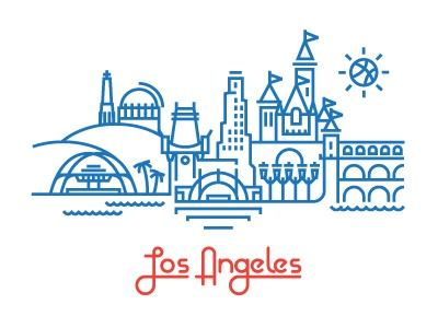 L.A. vector illustration city los angeles clippers disneyland lax griffith observatory disney basketball dribbble sun hollywood bowl tree water building icon