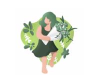 [Graphic] Spring, Girl, Flower