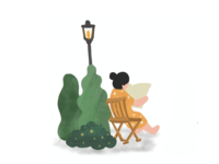 [Graphic] Woman, Park, Green