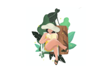 [Graphic] Flower, Green, Woman
