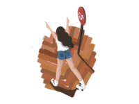 [Graphic] Girl, Roller