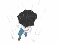 [Graphic] Raining, Umbrella, Urban