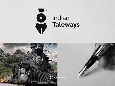 Train, Fountain Pen, writer minimal train foutain pen pen writer vector flat logo graphicdesign design esweid