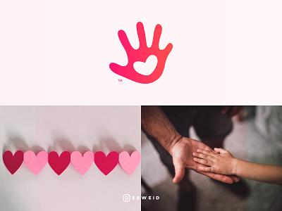 Hand, Heart, Logo love heart hand family instagram vector flat logo graphicdesign design