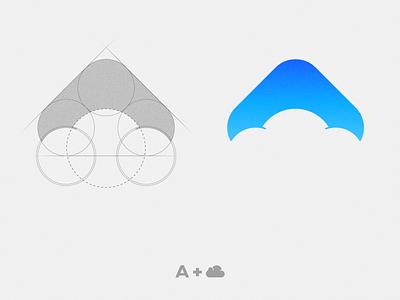A Cloud blue computer technology cloud negativespace instagram logo vector illustration flat graphicdesign design
