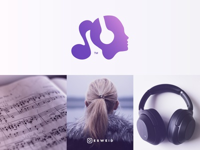 Girl, Music, Headphones, Logo