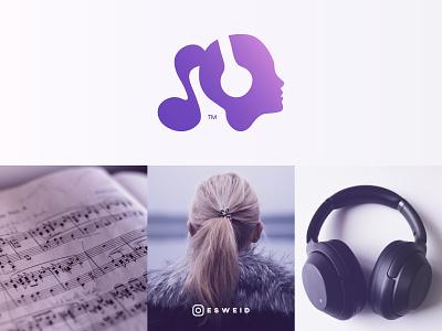 Girl, Music, Headphones, Logo logodesign esweid sweid music note notes purple gradient purple logo musician headphones music girl