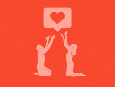 Praise heart instagram design illustration