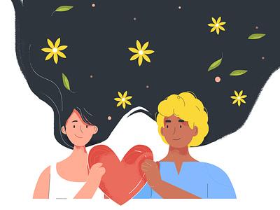 love valentine sheet orange couple flower heart boy design color flat vector happy girl hair love 2d illustration