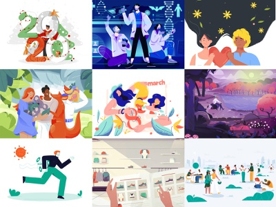 Top Nine -2020 color character 2d illustration uiuxdesign hand sport 2021 tree nature 8marth girl animals plant love bat doctors coronavirus newyear 2020